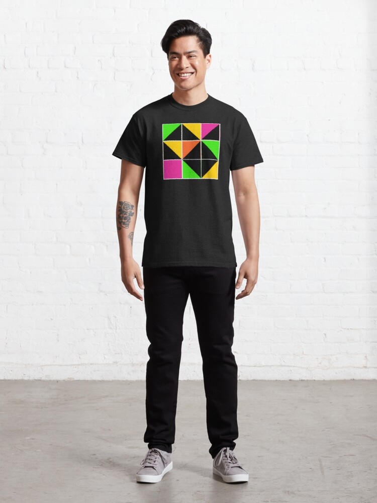 Alternate view of Stephen Sprouse inspired-geometric- color blocked- triangles-day glow colors Classic T-Shirt