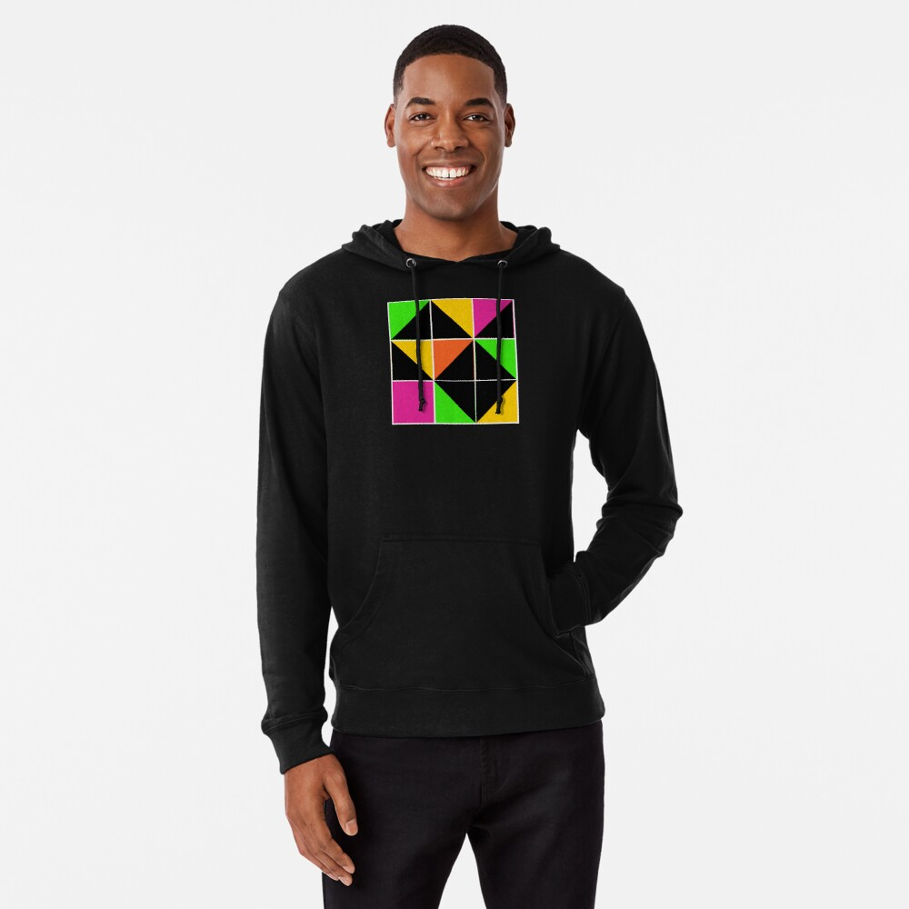 Stephen Sprouse inspired-geometric- color blocked- triangles-day glow colors Lightweight Hoodie