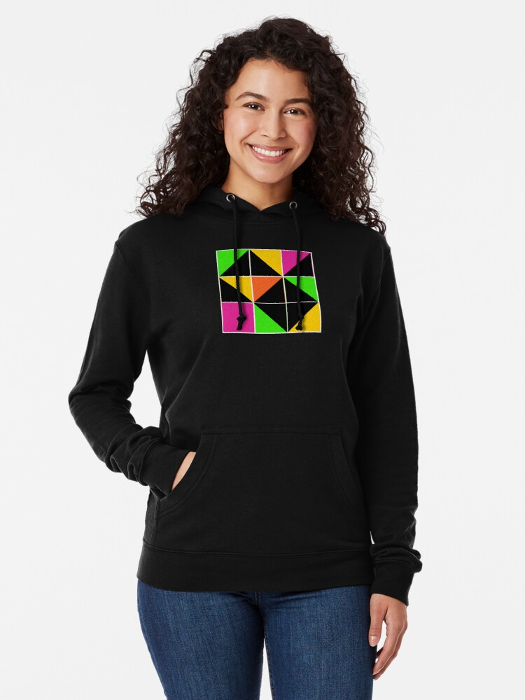 Alternate view of Stephen Sprouse inspired-geometric- color blocked- triangles-day glow colors Lightweight Hoodie