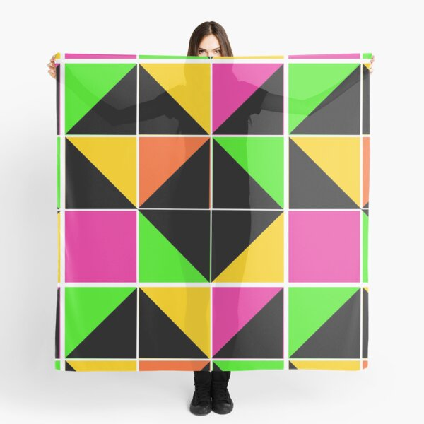 Stephen Sprouse inspired-geometric- color blocked- triangles-day glow colors Scarf