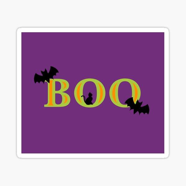 Bats, Black Cat, and Boo Sticker
