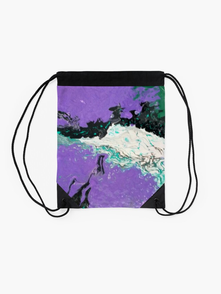 "Alternate view of Abstract Painting-""Mardi Gras"" Drawstring Bag"
