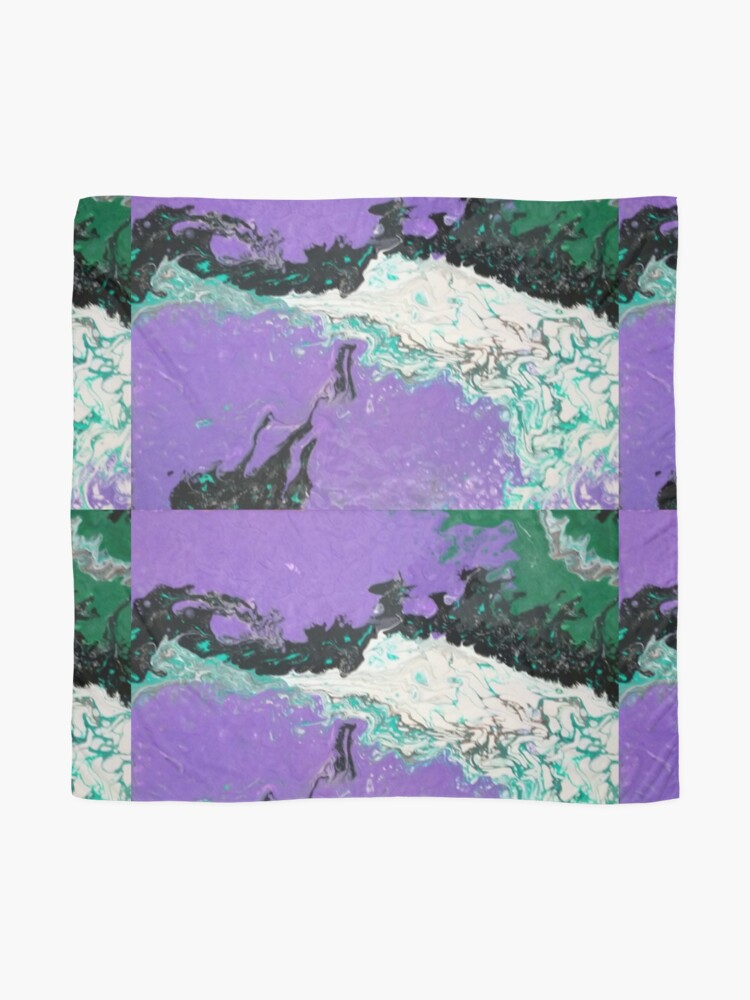 """Alternate view of Abstract Painting-""""Mardi Gras"""" Scarf"""