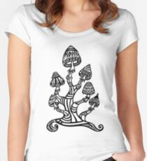 Magic mushrooms, Plants of the Gods, psychedelic, Trance Goa Psy  Women's Fitted Scoop T-Shirt