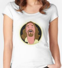 The Dude Cartoon Women's Fitted Scoop T-Shirt