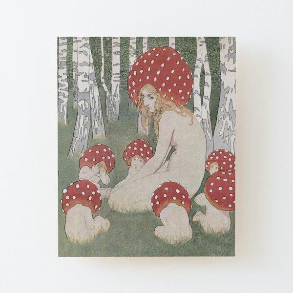 MOTHER MUSHROOM WITH HER CHILDREN - EDWARD OKUN Wood Mounted Print