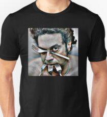 dramatic face of man with four steel forks Unisex T-Shirt