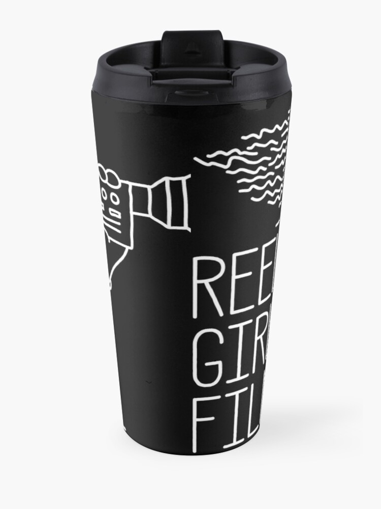 Alternate view of Reel Girls Logo on Black Travel Mug