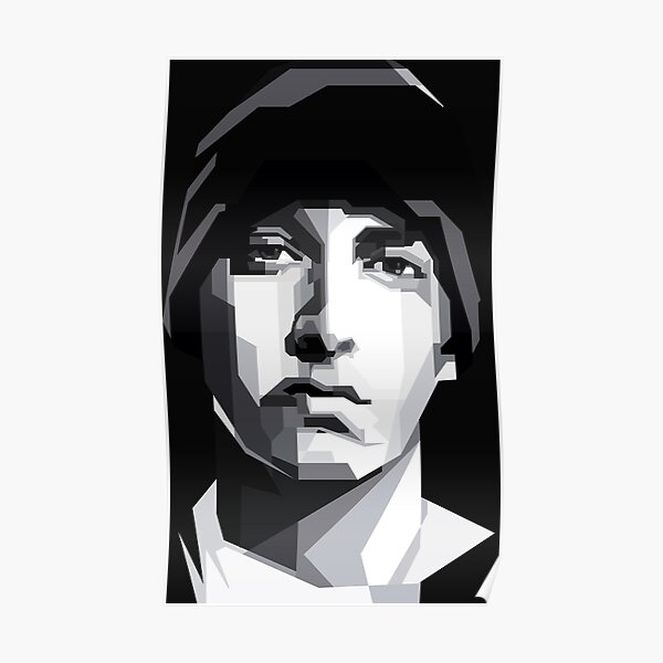 Eminem Black White Poster