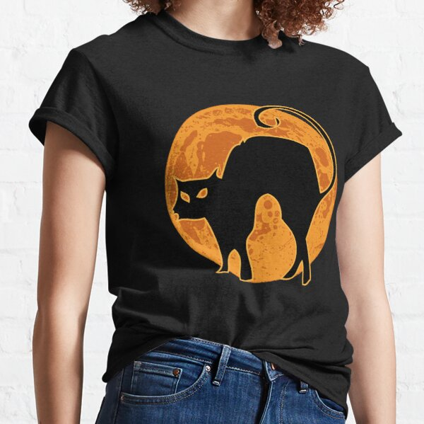 Halloween Black Cat and Orange Moon, Gift for Witch Classic T-Shirt