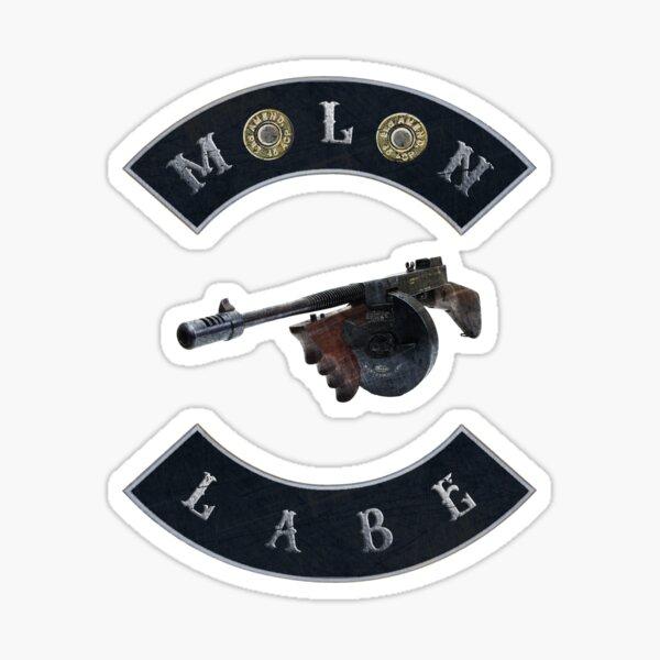Tommy Gun Molon Labe double 45 ACP black background Sticker