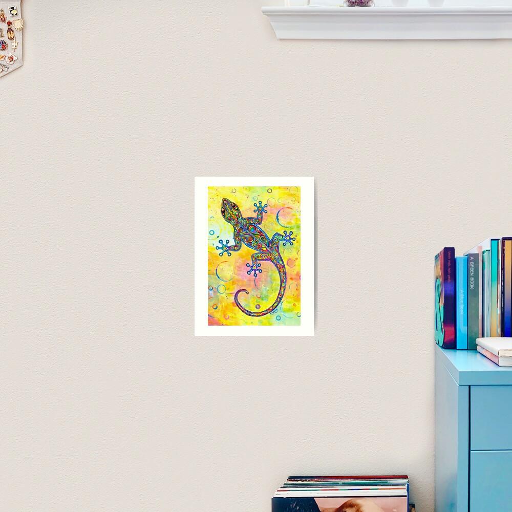 Electric Gecko Psychedelic Paisley Lizard Art Print