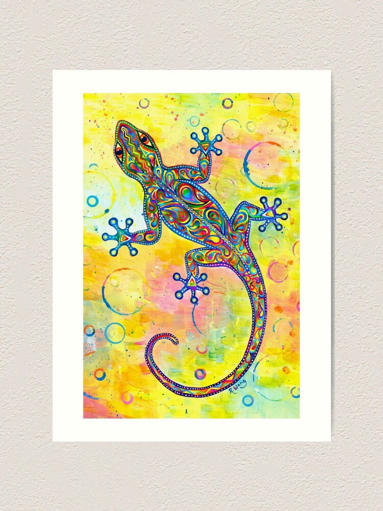 Alternate view of Electric Gecko Psychedelic Paisley Lizard Art Print