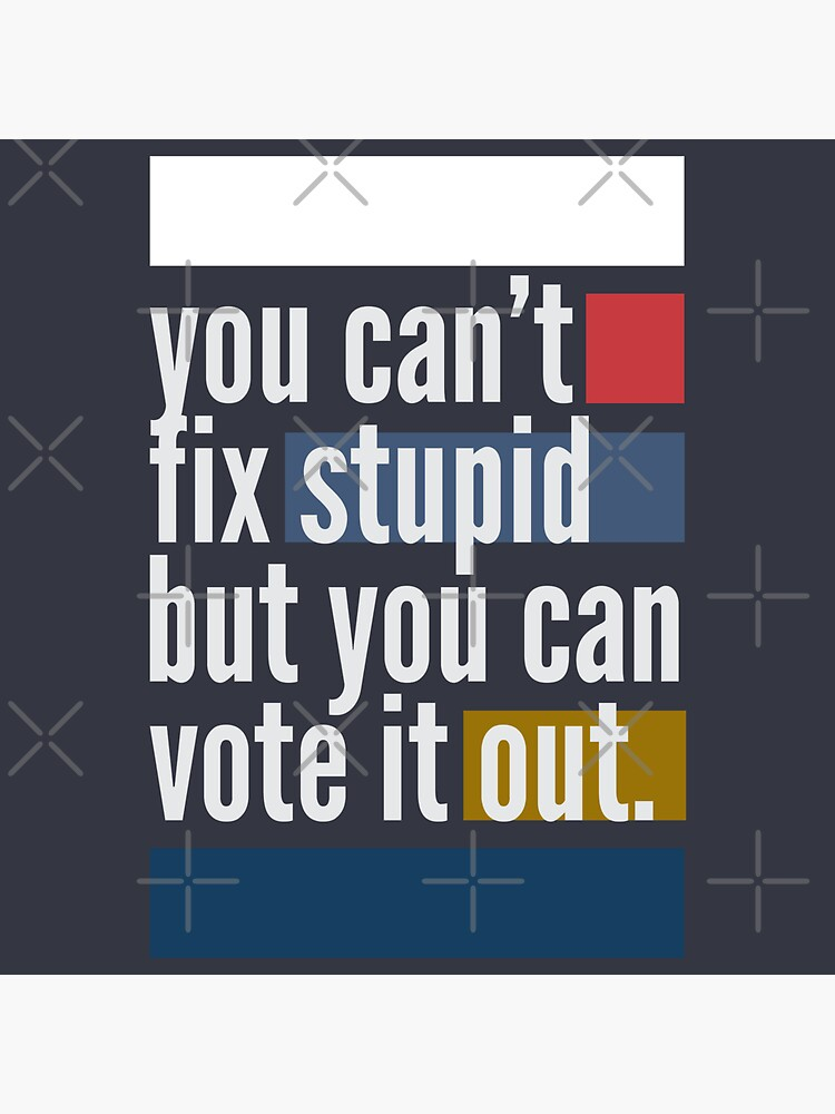 You can't fix stupid but you can vote it out by heymiki