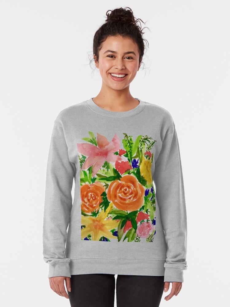 Alternate view of Patti's Flowers Pullover Sweatshirt