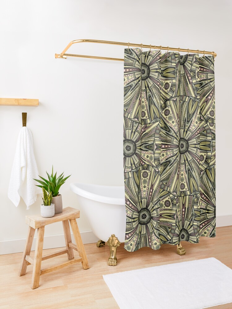 Alternate view of Seaside Urchin Mandala Shower Curtain