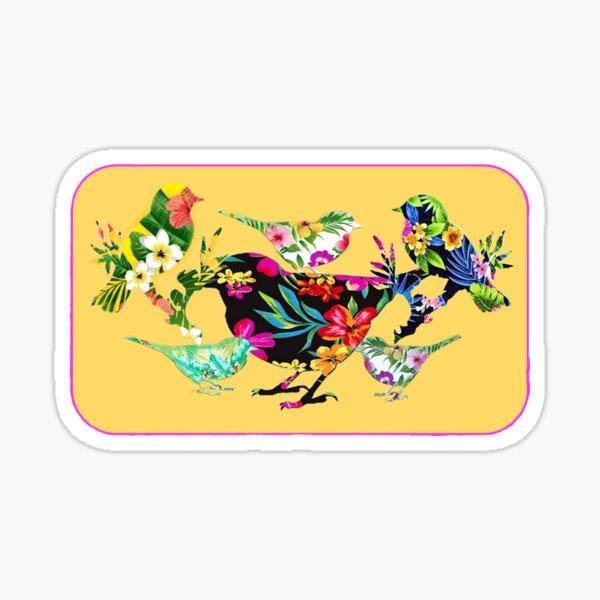 tropical bird collage Sticker