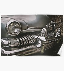 old chromed american car  Poster