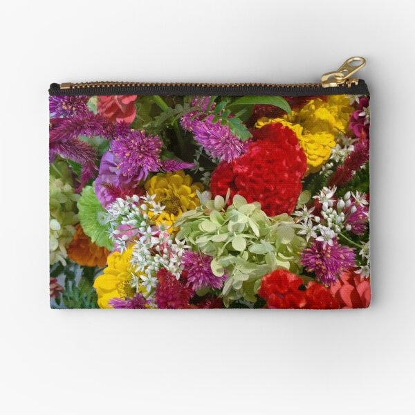 Floral Bouquet-Aster-Cock's Comb-Zinnia Zipper Pouch