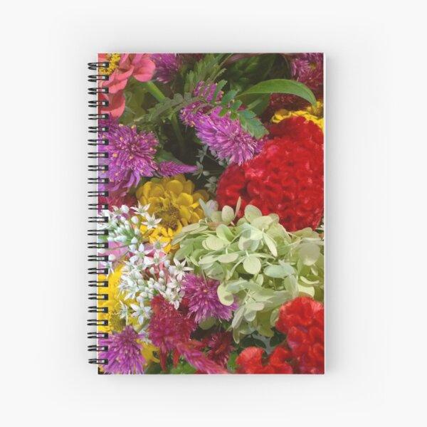 Floral Bouquet-Aster-Cock's Comb-Zinnia Spiral Notebook