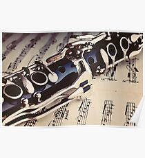 Clarinet on a sheet music Poster