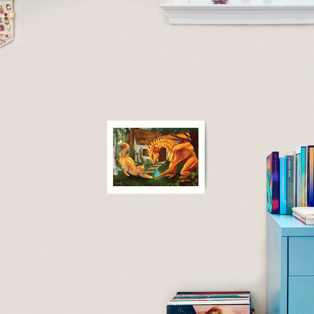 Cat and Dragon Art Print