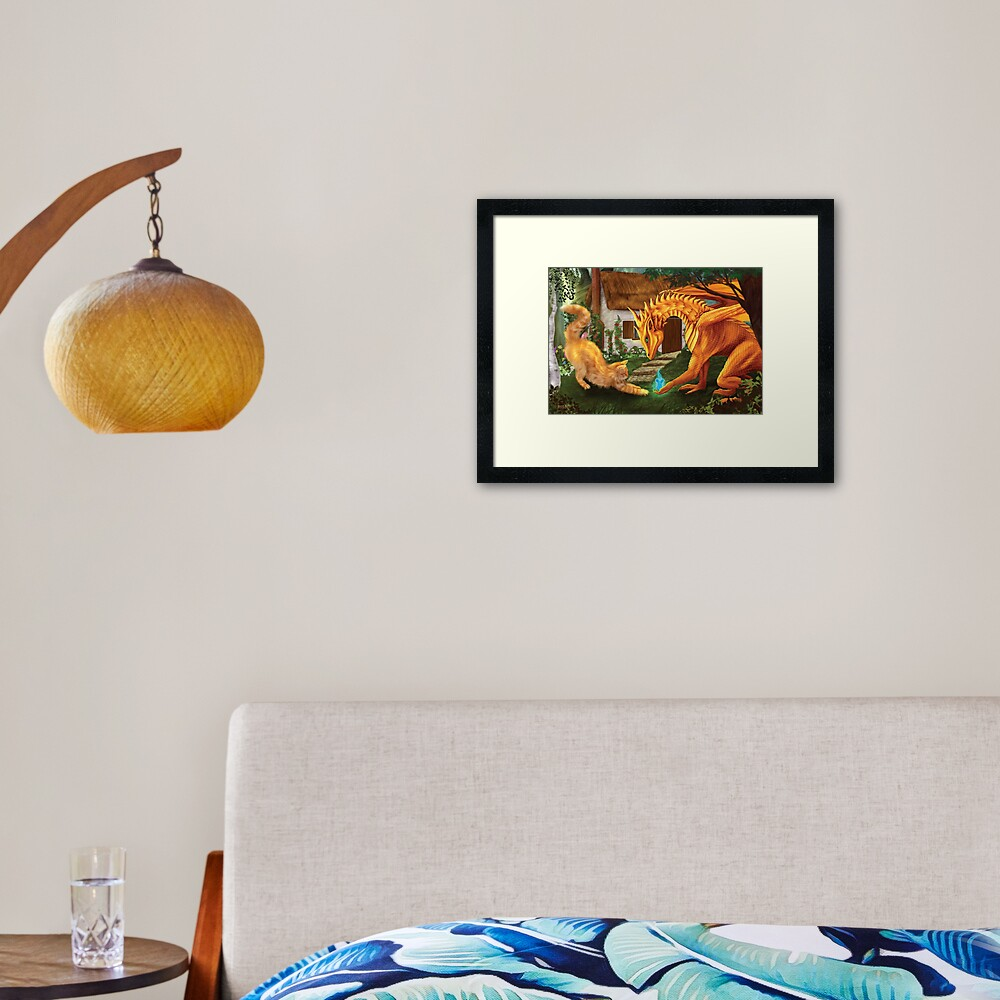 Cat and Dragon Framed Art Print