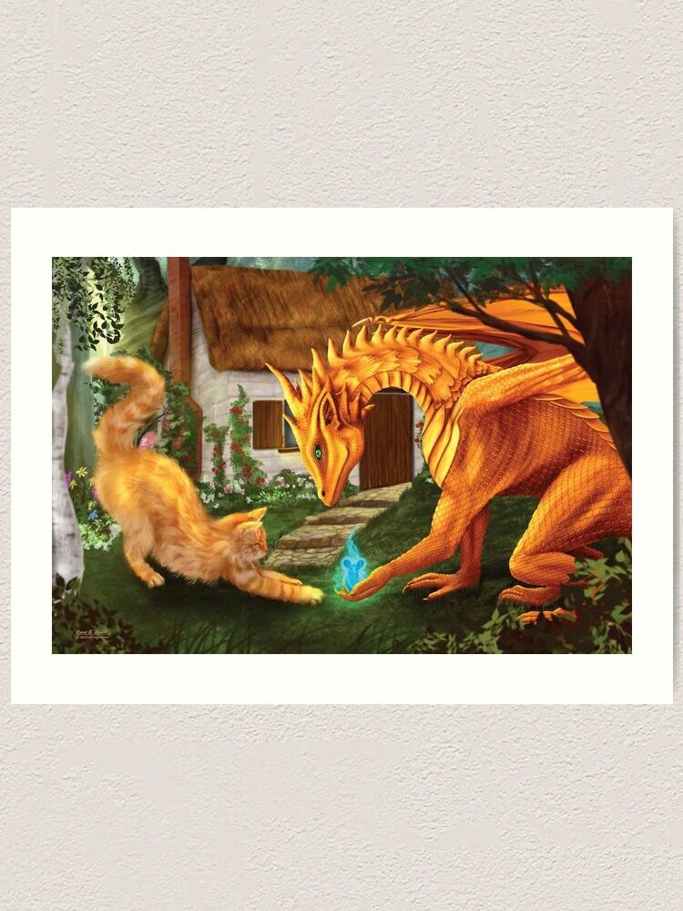 Alternate view of Cat and Dragon Art Print
