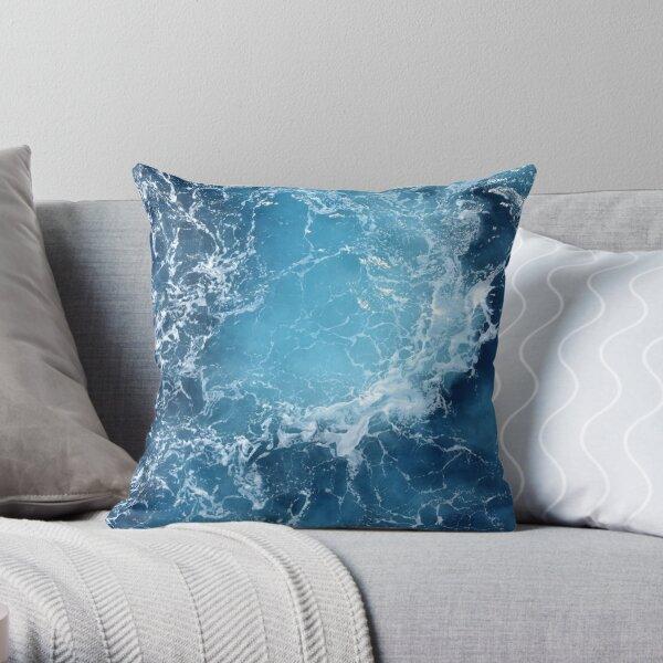 Deep Blue Ocean Sea Waves Throw Pillow