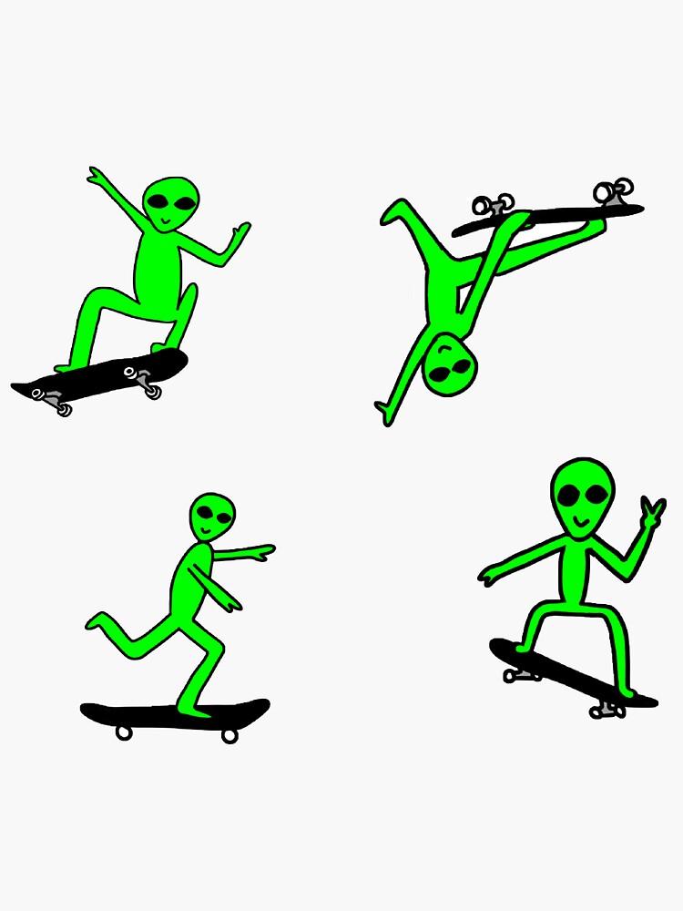 Skateboarding Alien Sticker Pack by lindseydesigns