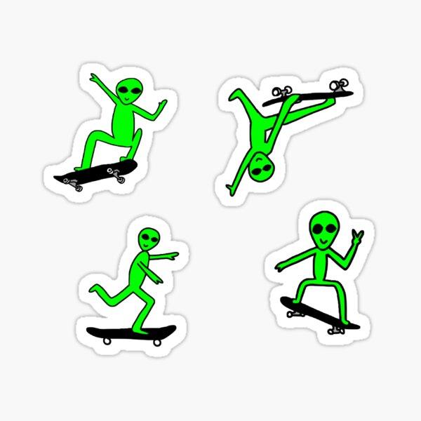 Pack d'autocollants Alien Skateboard Sticker