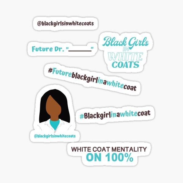 Black Girl in White Coat Sticker Sheet Sticker
