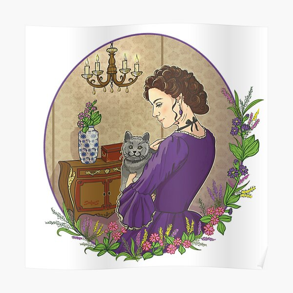 Pensive beautiful woman with the cat Poster