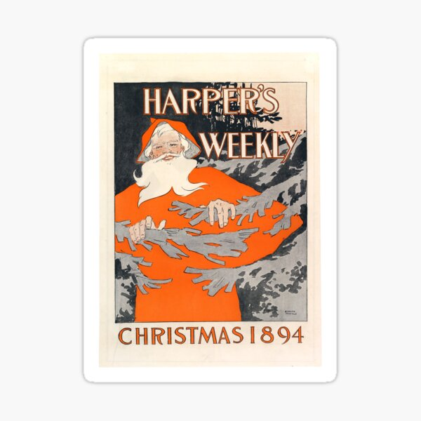Vintage Christmas Magazine Cover from Harper's Weekly (1894) Sticker