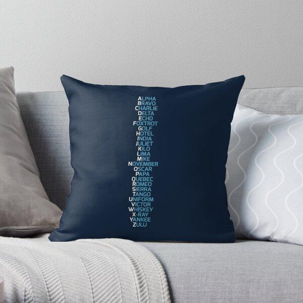 Phonetic Alphabet Navy Blue Throw Pillow