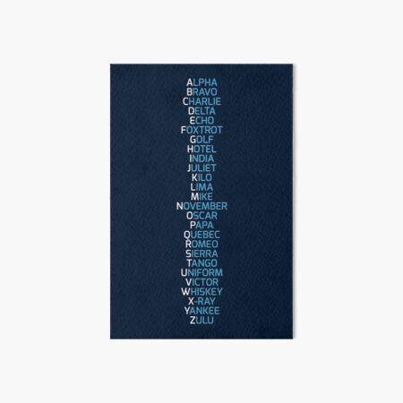 Phonetic Alphabet Navy Blue Art Board Print