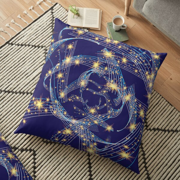Wavy Lines With Stars Floor Pillow