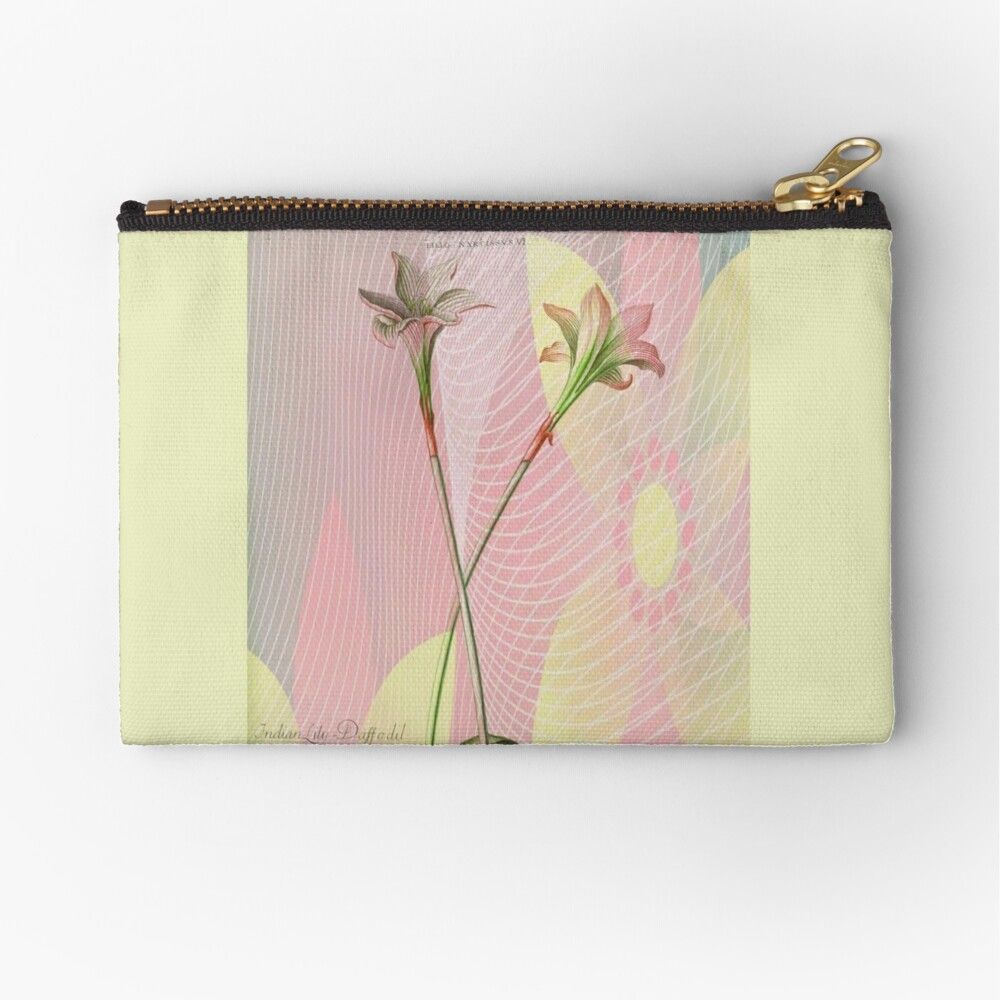 Botanical Print-Indian Lily Daffodil Zipper Pouch
