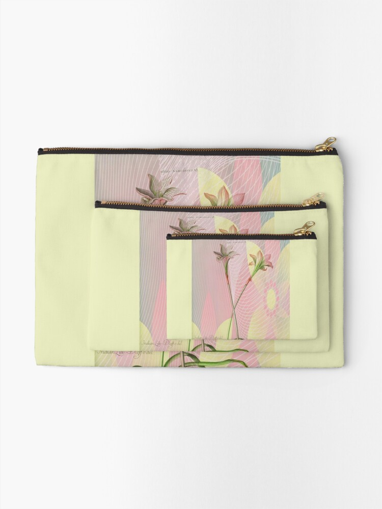 Alternate view of Botanical Print-Indian Lily Daffodil Zipper Pouch