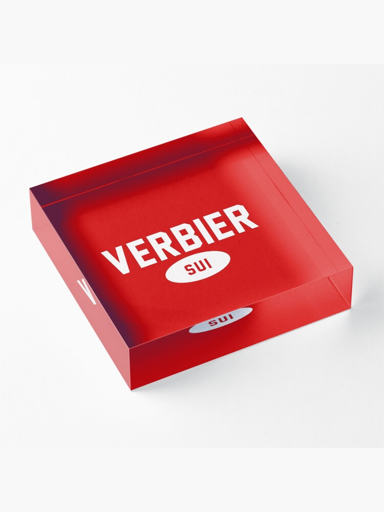 Alternate view of Verbier SUI White Red Background Acrylic Block