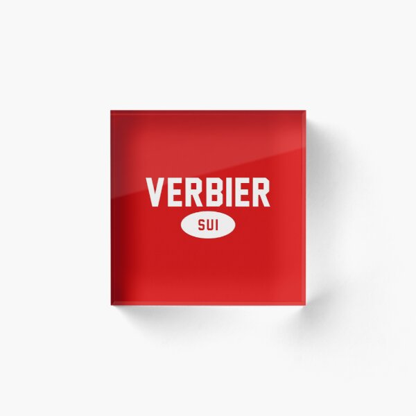 Verbier SUI White Red Background Acrylic Block