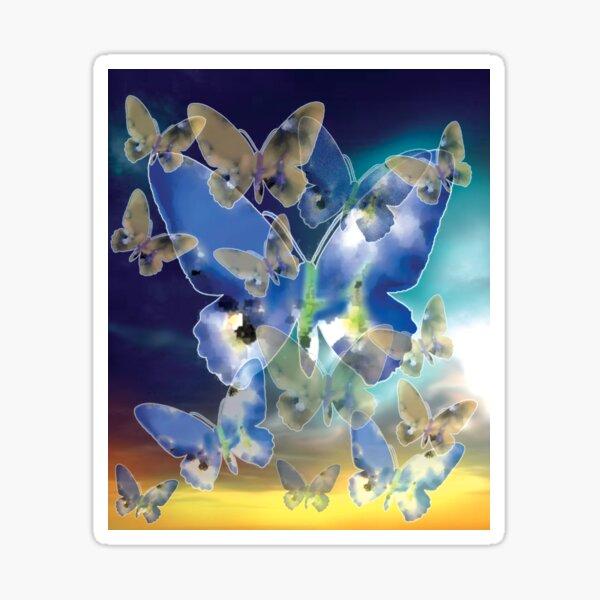 Butterfly Sky - Blue Sticker