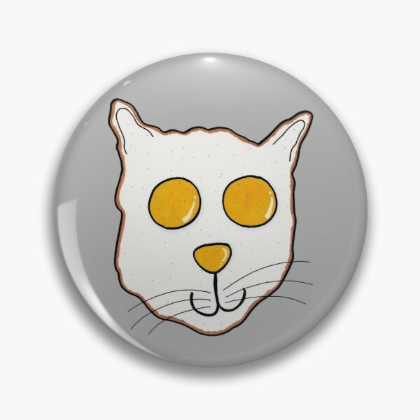 Fried Egg Cat (Grey Background) Pin