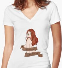 Tantalizing Temptress Pin Up Women's Fitted V-Neck T-Shirt