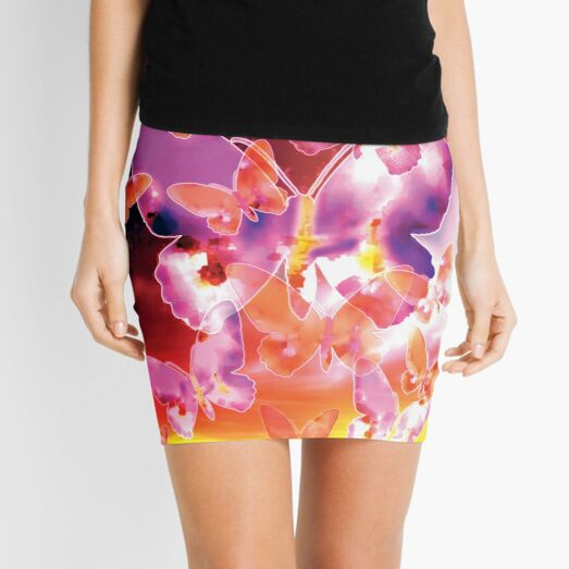Butterfly Sky - Pink Mini Skirt