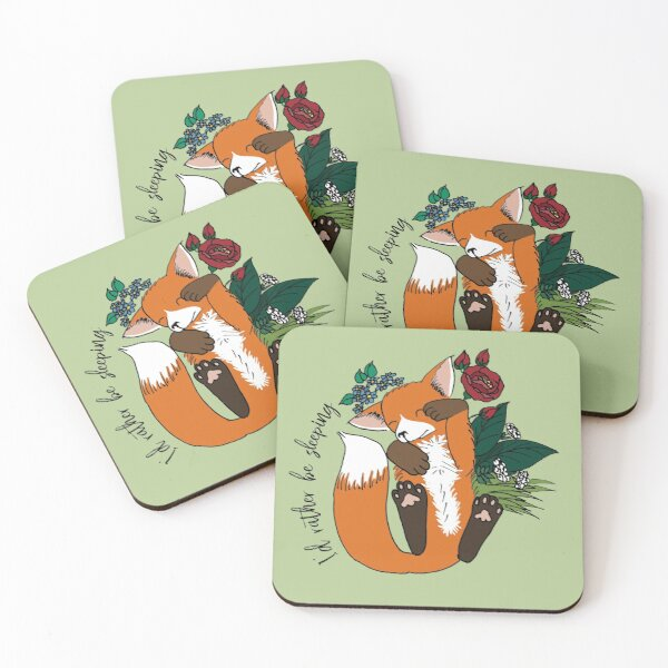 I'd rather be sleeping - cute fox napping Coasters (Set of 4)