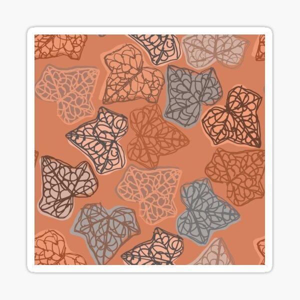 """English Ivy Autumn Leaves"" Muted Orange Blue Brown Leaf Designer Print Sticker"