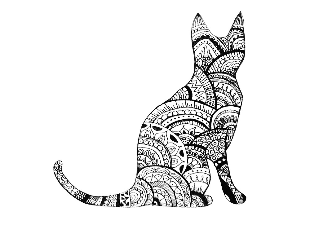 Quot Zentangle Cat Drawing Quot By Ayseart Un Redbubble