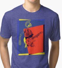 Mohawk Punk Rocker Guitarist Tri-blend T-Shirt