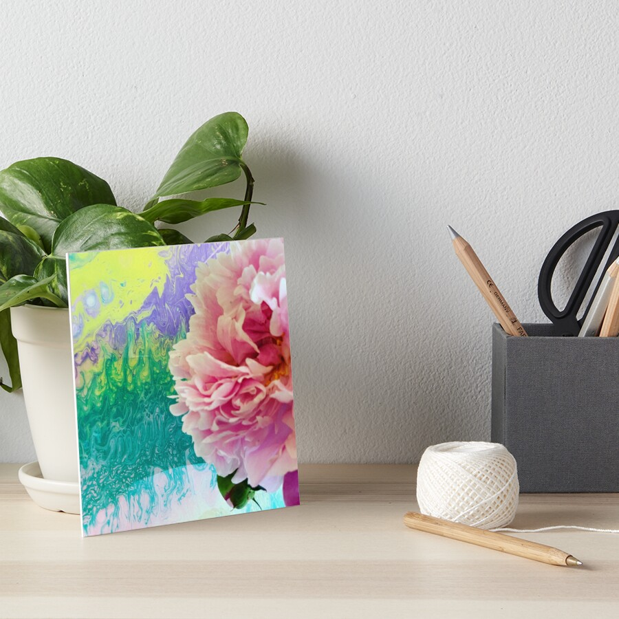 Abstract Painting-Pink Peony-Art and Nature Art Board Print